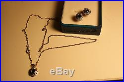 100% 9ct Gold chain Tiny Diamonds And Black Sapphire Earrings And A Pendant Set