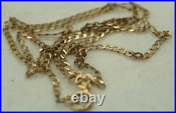 100% Genuine 9k Solid Yellow Gold Curb Flat Link Necklace Chain 43.5 cm