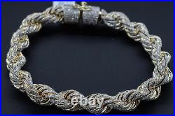 10K Solid Yellow Gold and Diamond 9.00 CT Rope Chain Bracelet