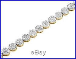 10K Yellow Gold Genuine Diamond Cluster 6 MM Chain Necklace 9 ct 24