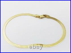 14K 7 3mm Solid Yellow Gold Ladies High Polish Herringbone Bracelet