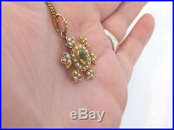15ct gold peridot & seed Pearl Victorian Art Nouveau pendant on 9k chain, 625,375