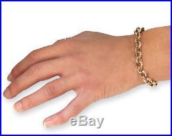(16.5g) Solid 9ct Gold Plain & Engraved 8 inch BELCHER BRACELET Handmade UK