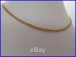 17.5in HM 3.3mm VICTORIAN 9ct GOLD ALBERT WATCH CHAIN NECKLACE DOG CLIPS 11.8g