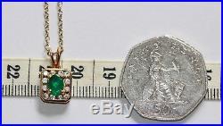 18 ct gold emerald & diamond pendant on 9 ct gold 18.5 inch chain