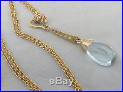 18ct/ 18k Diamond & Aquamarine Art deco design pendant on 9ct gold chain, 750,375