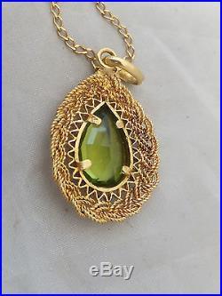 18ct/ 18k gold 4 carat pearl drop Peridot pendant on 9ct gold chain, 750, 375