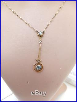 18ct/18k gold Aquamarine & natural seed Pearl Art deco pendant on 18k chain, 750