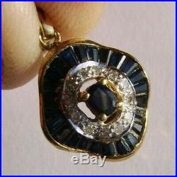 18ct Gold Diamond Sapphire Pendant On A Well Matched 9ct Gold Necklace Chain