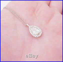 18ct gold 1.83ct diamond pear drop cluster pendant on 9ct gold chain