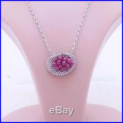 18ct gold Ruby 2.5ct diamond pendant on 9ct gold chain designer heavy