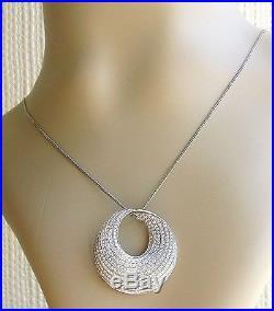 18ct white gold multi diamond 1.77ct swirl pendant & 9ct gold chain (19inches)