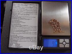 18ins DIAMOND CUT 9ct GOLD BELCHER CHAIN + 9ct GOLD T BAR ALBERT PENDANT 9.6gm