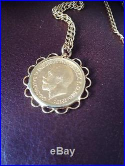 1925 Mounted Full Sovereign Pendant On 9ct Gold 18 Necklace Chain