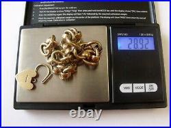 1960 Vintage Solid 9ct Gold Bracelet Heavy Roller Ball Hallmarked Heart Padlock