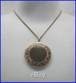 1970's Large Circular 9ct Gold Engraved Locket And Chain