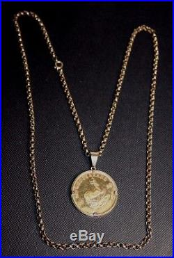 1983 Half Ounce Fine Gold Krugerrand in a 9ct Gold Mount on a 24 9ct Gold Chain