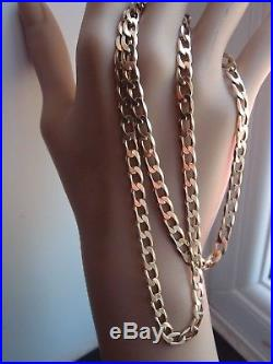 20.5in HM GLEAMING LINKS 5mm WIDE 9ct GOLD CURB LINK NECKLACE NECK CHAIN 13.4g