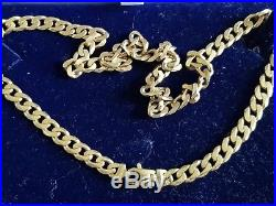 20 9ct Gold Curb Necklace, Heavy Chain, Excellent Condition