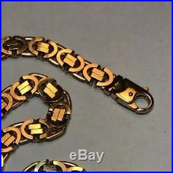 20in Byzantine Chain 8mm Wide 9ct Gold 20inch Uk Hallmark 67.1grams With Value