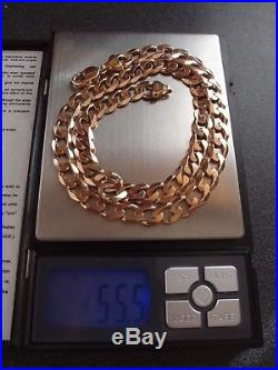 21.25in LONDON HM GLEAMING 9.4 mm WIDE HEAVY 9 ct GOLD CURB Chain NECKLACE 55.5g