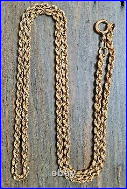 22 9ct Yellow Gold Rope Chain Necklace 17.2g Solid Links NOT Hollow
