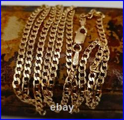 22 9ct solid gold curb chain necklace 22 inches fully UK hallmarked
