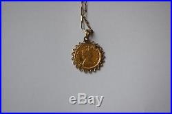 22 carat gold half sovereign pendant (20mmDiameter) with 9ct gold belcher chain