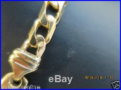 22SERIOUSLY HEAVY CURB LINK SOLID 9CT GOLD CHAIN FULL UK HALLMARK