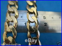 22seriously Heavy Very Big Curb Link Solid 9ct Gold Chain Full Uk Hallmark