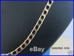 22VERY HEAVY SQUARE CURB LINK SOLID 9CT GOLD CHAIN FULL UK HALLMARK