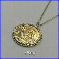 22ct Gold Elizabeth Full Sovereign Coin In 9ct Gold Mount & Chain Necklace
