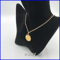 22ct Gold Full Sovereign Perth Mint 9ct Scroll Mount & 9ct 22 Rope Chain #391