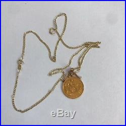 22ct Gold Half Sovereign Coin 1894 Pendant 9ct Gold Curb Link Chain Necklace