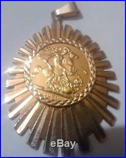 22ct Gold full sovereign 1979 9ct gold necklace pendant chain 19.5g not scrap