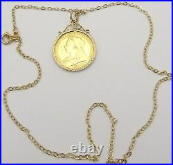 22ct solid gold British Victorian 1898 half sovereign in 9ct pendant and chain