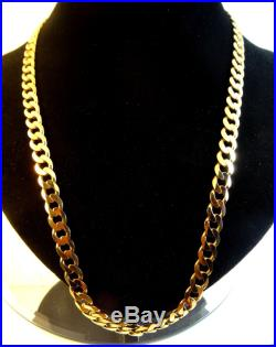 23 Heavy Solid 9ct Gold CURB Chain Necklace 51.5gr Hm RRP £1000 8mm links cx344