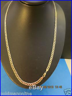 24 HEAVY not hollow CURB LINK CHAIN in SOLID 9CT GOLD FULL UK HALLMARK