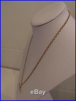 24in DIAMOND CUT 9ct GOLD BELCHER CHAIN VICTORIAN 9ct GOLD T BAR PENDANT 13.4gm