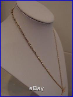 24in DIAMOND CUT 9ct GOLD BELCHER CHAIN VICTORIAN 9ct GOLD T BAR PENDANT 13.4gm