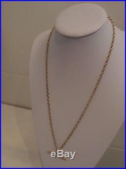 25in DIAMOND CUT 9ct GOLD BELCHER CHAIN VICTORIAN 9ct GOLD T BAR PENDANT 14.3g