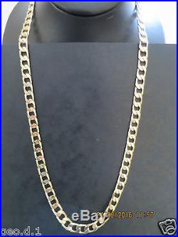 26SERIOUSLY HEAVY CURB LINK SOLID 9CT GOLD CHAIN FULL UK HALLMARK
