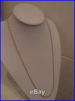 28in 3.5 mm OVAL LINKS 9ct GOLD BELCHER CHAIN NECKLACE 6.1gm BIRMINGHAM 1996