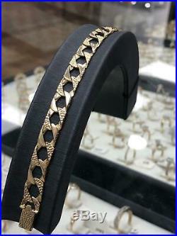 375 9ct GENUINE GOLD HEAVY Diamond Cut BOMBE Chain BRACELET 8 8mm NEW