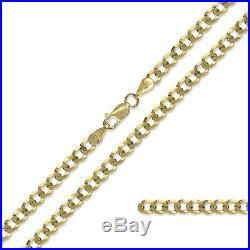 375 9ct Gold Curb Chain Yellow Solid Diamond Cut Link Pendant Necklace Gift Box