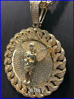 375 9ct Yellow GOLD CUBAN FRAME ANGEL Icy Shine Shiny BLING RAPPER PENDANT NEW