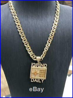 375 9ct Yellow GOLD ICE GRIND DAILY MENS Icy Shine Shiny BLING RAPPER PENDANT