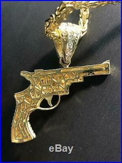 375 9ct Yellow GOLD MEDIUM GUN Revolver Icy Shine Shiny BLING RAPPER PENDANT NEW