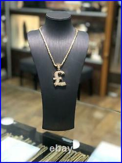 375 9ct Yellow GOLD POUND SIGN £ MONEY Icy Shine Shiny BLING RAPPER PENDANT NEW