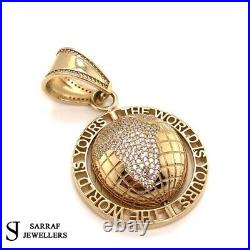 375 9ct Yellow GOLD THE WORLD IS YOURS PENDANT Shiny BLING RAPPER BRAND NEW